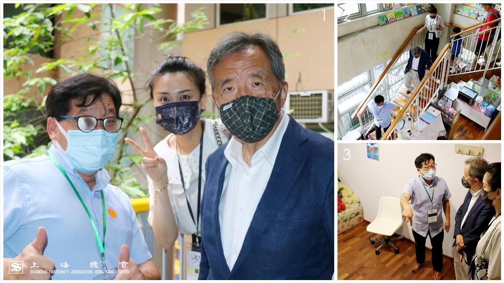 (1)(左起)協青社謝貞元總幹事、上海總會婁芝伊總幹事及范思浩副理事長於參觀協青社總部時合照。 (2)複式女子宿舍。 (3)獨立諮詢室。