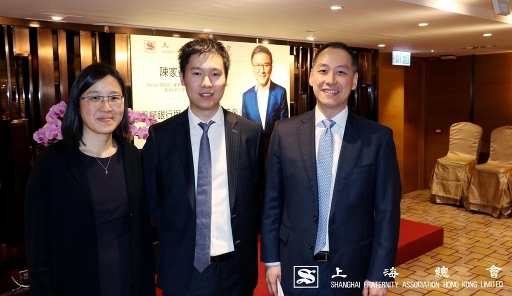 講座司儀,上海總會青年委員會委員,(左起)劉佳航理事、王立德常務理事及李惟宏常務理事。